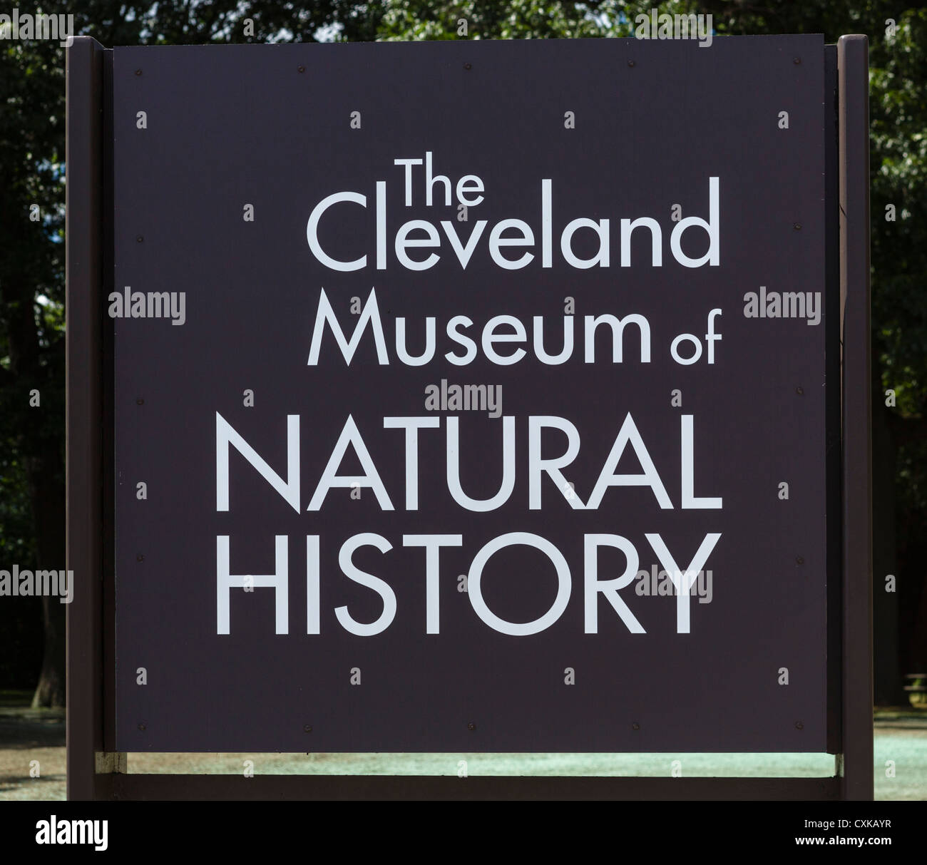 Sign outside Cleveland Museum of Natural History, University Circle district, Ohio, USA - Stock Image