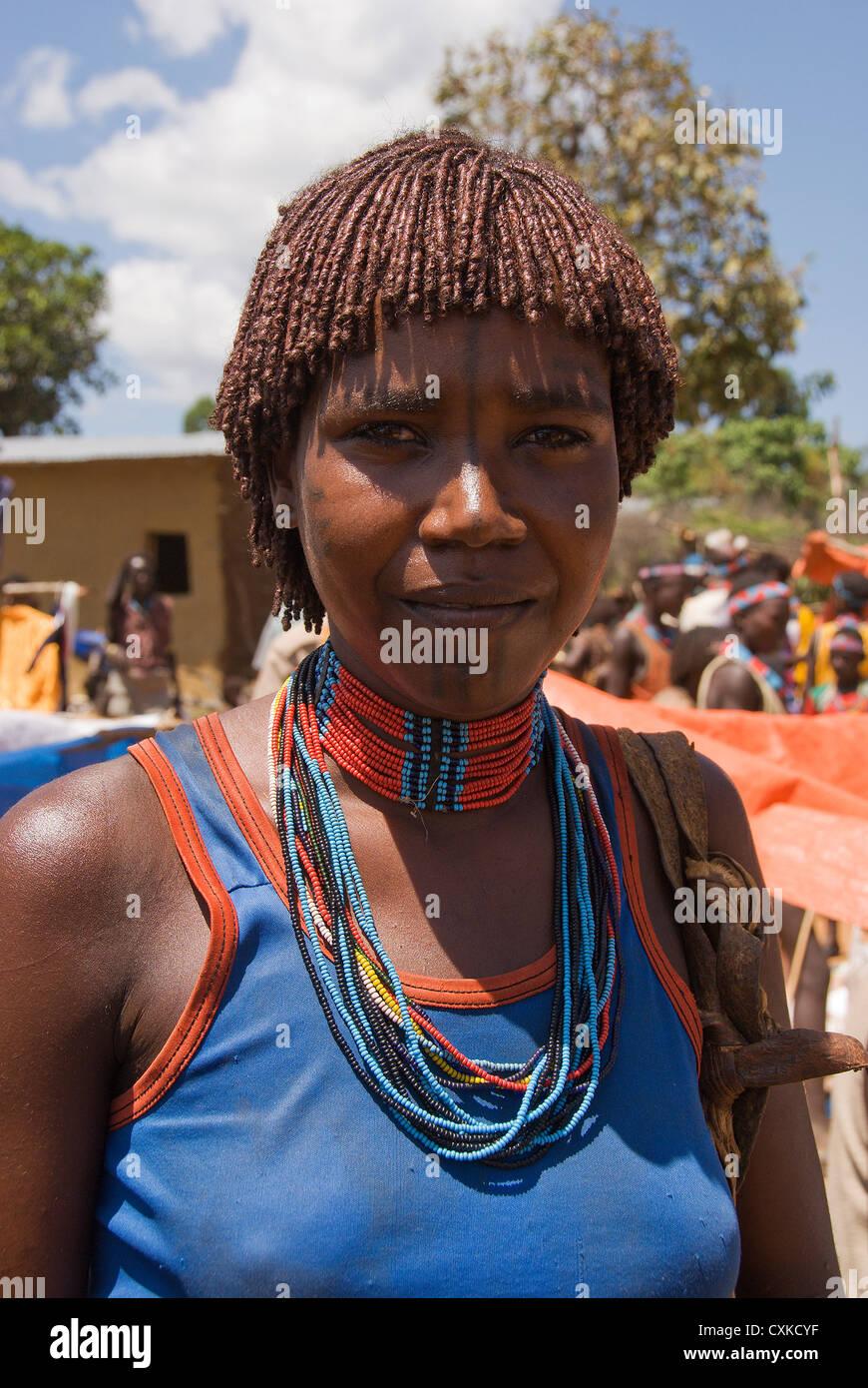 Elk200-5208v Ethiopia, Omo Valley, Key Afar village, tribal market, woman Stock Photo