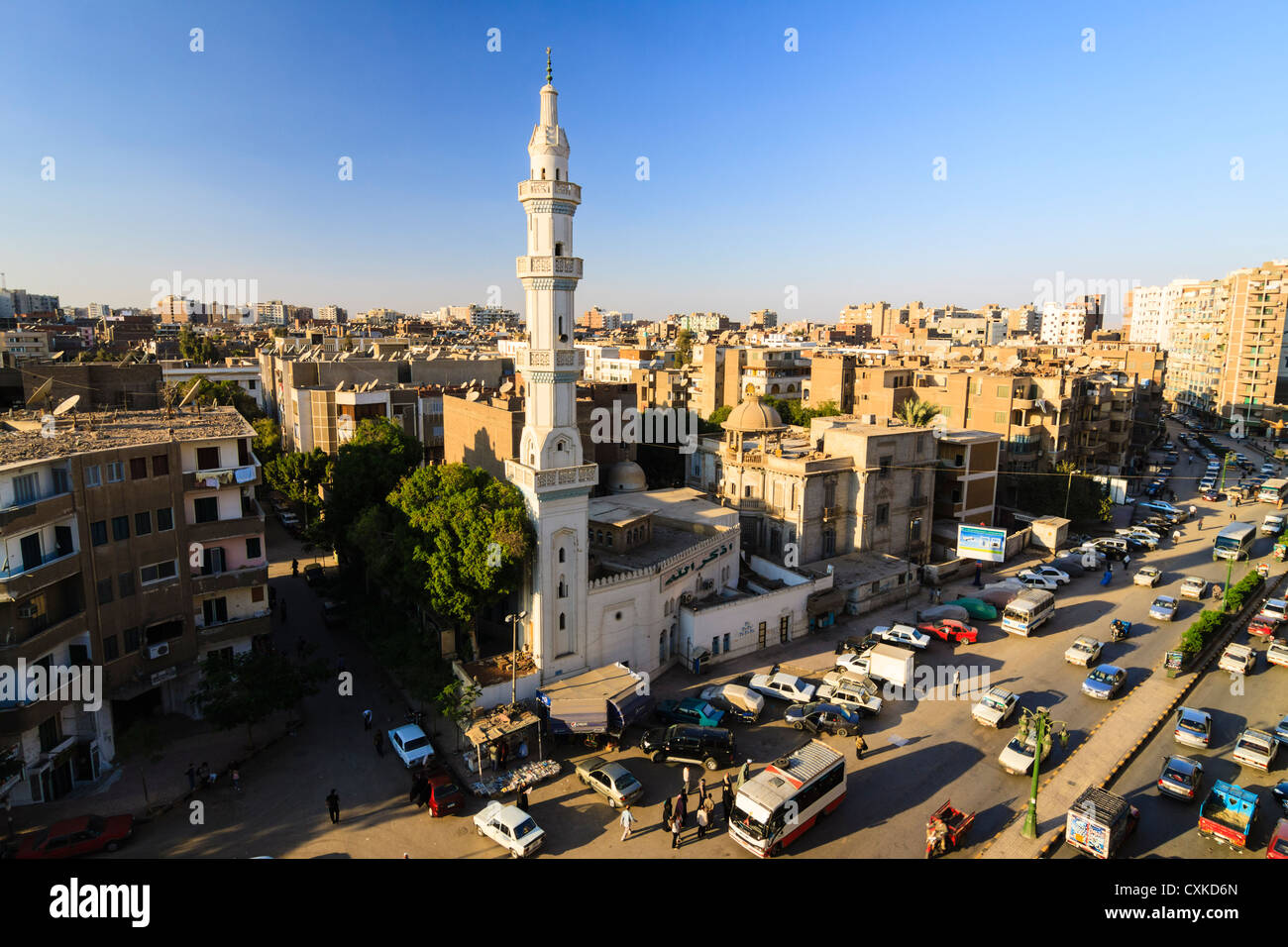 Overview of Asyut downtown with El Helaly mosque. Egypt - Stock Image