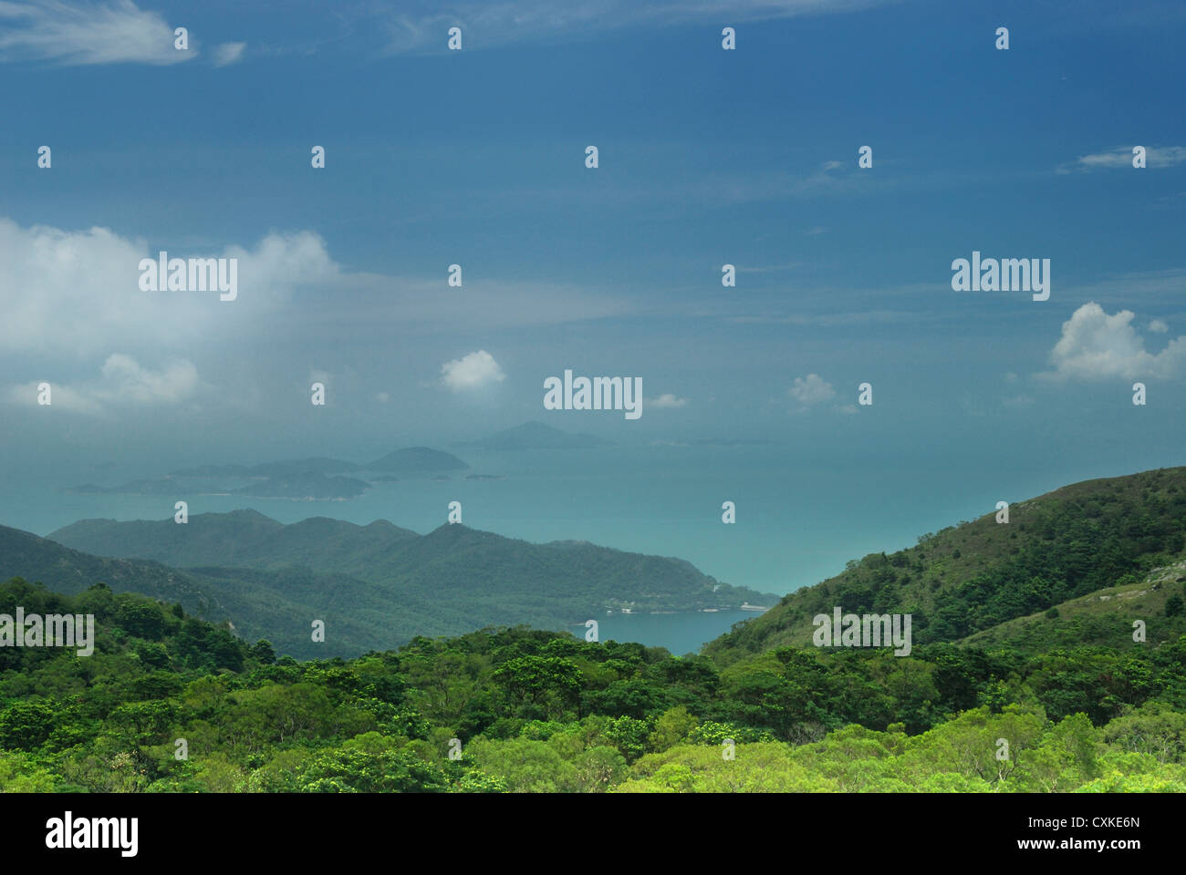 Southerly view from Ngong Ping across Lantau Country Park towards the Soko Islands in the South China Sea. - Stock Image