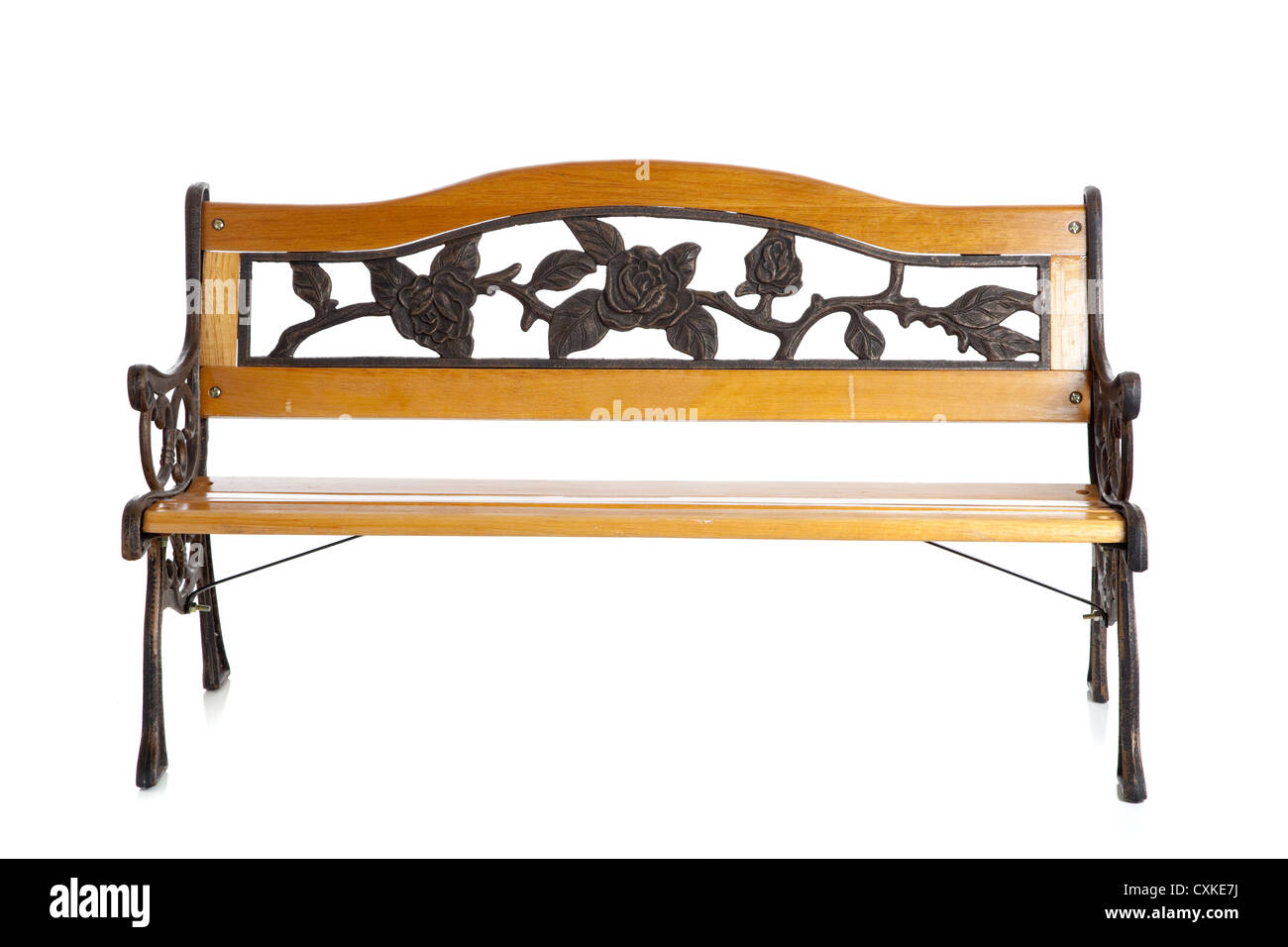 Wooden and wrought iron bench on a white background - Stock Image