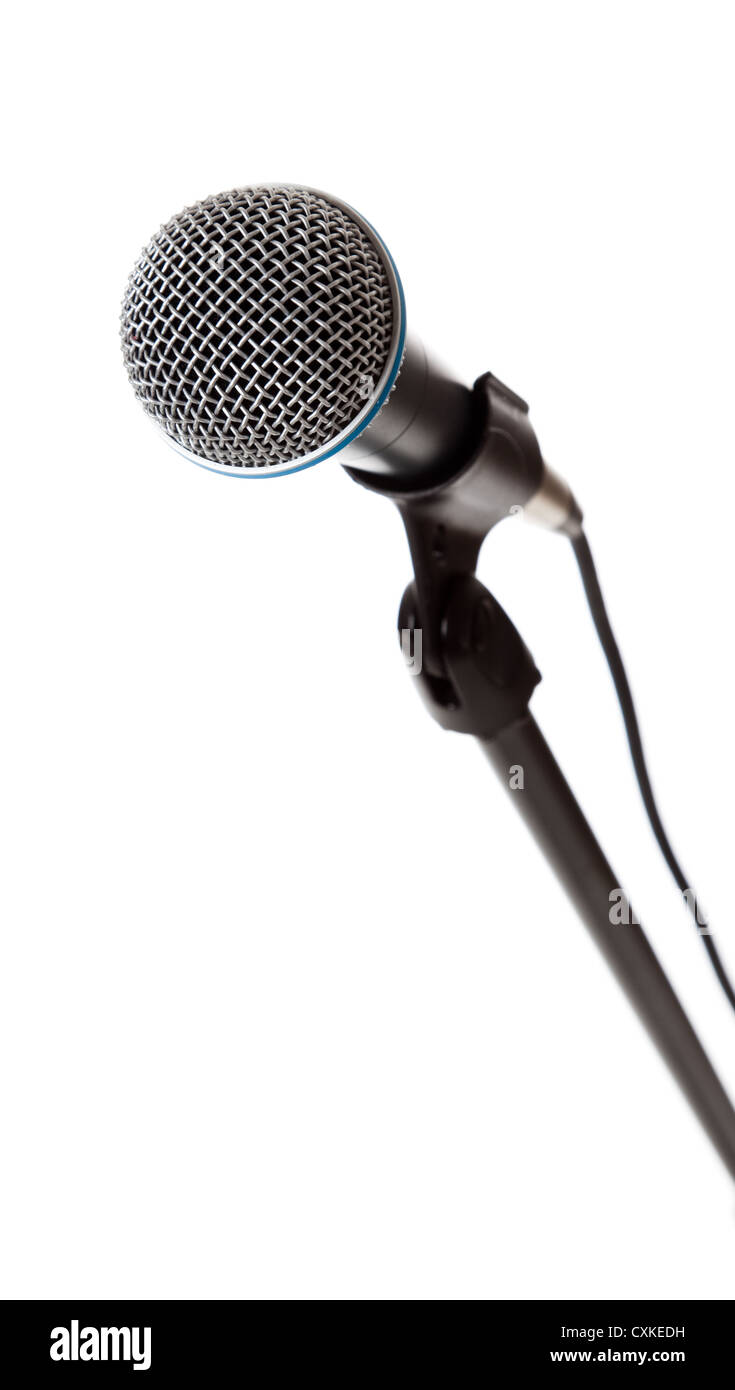 Microphone on a white background with copy space - Stock Image