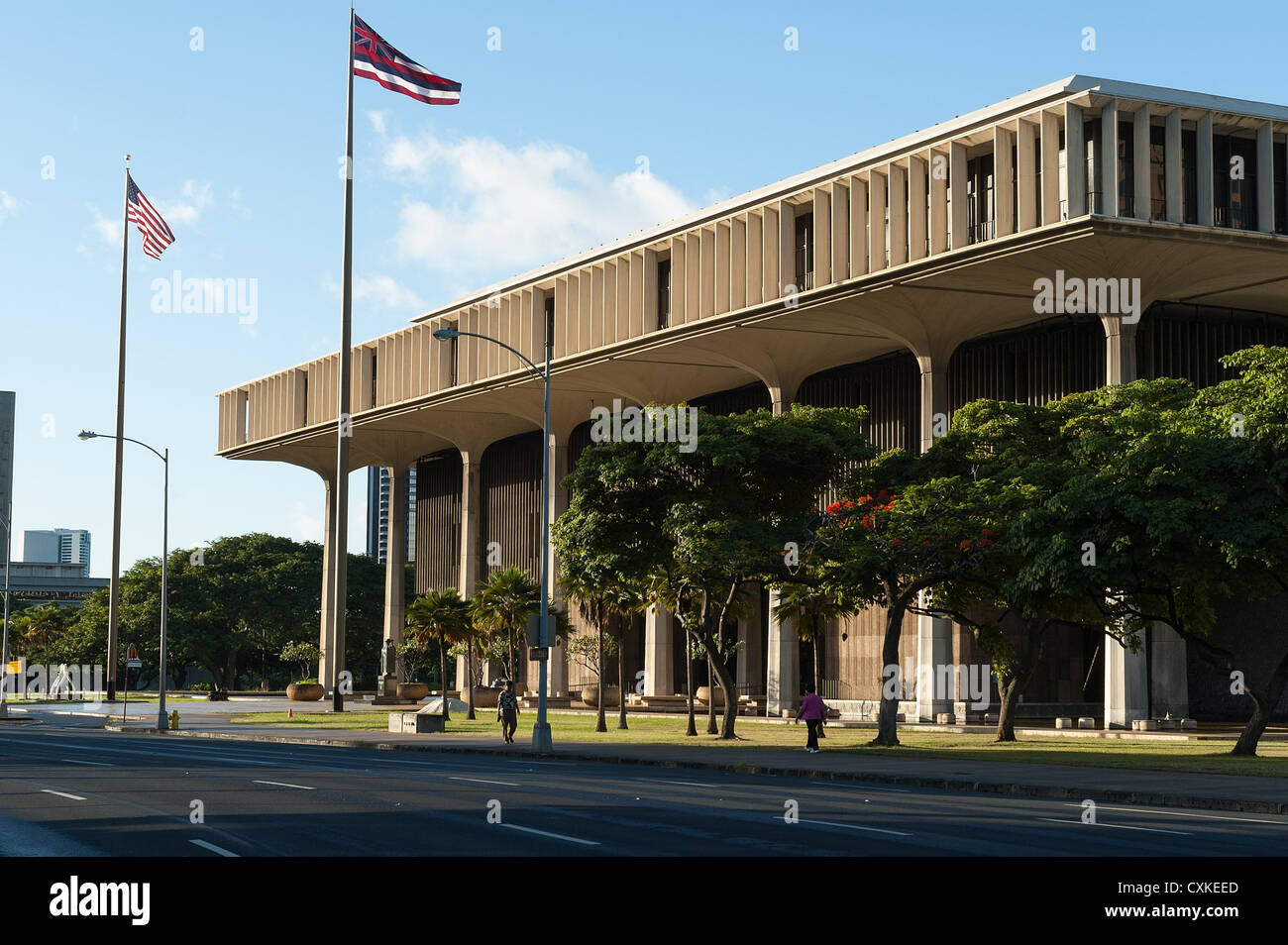 Elk284-1221 Hawaii, Oahu, Honolulu, Hawaii State Capitol - Stock Image