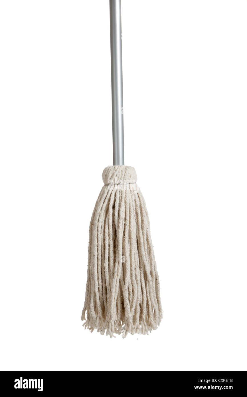 String mop on  a white background - Stock Image