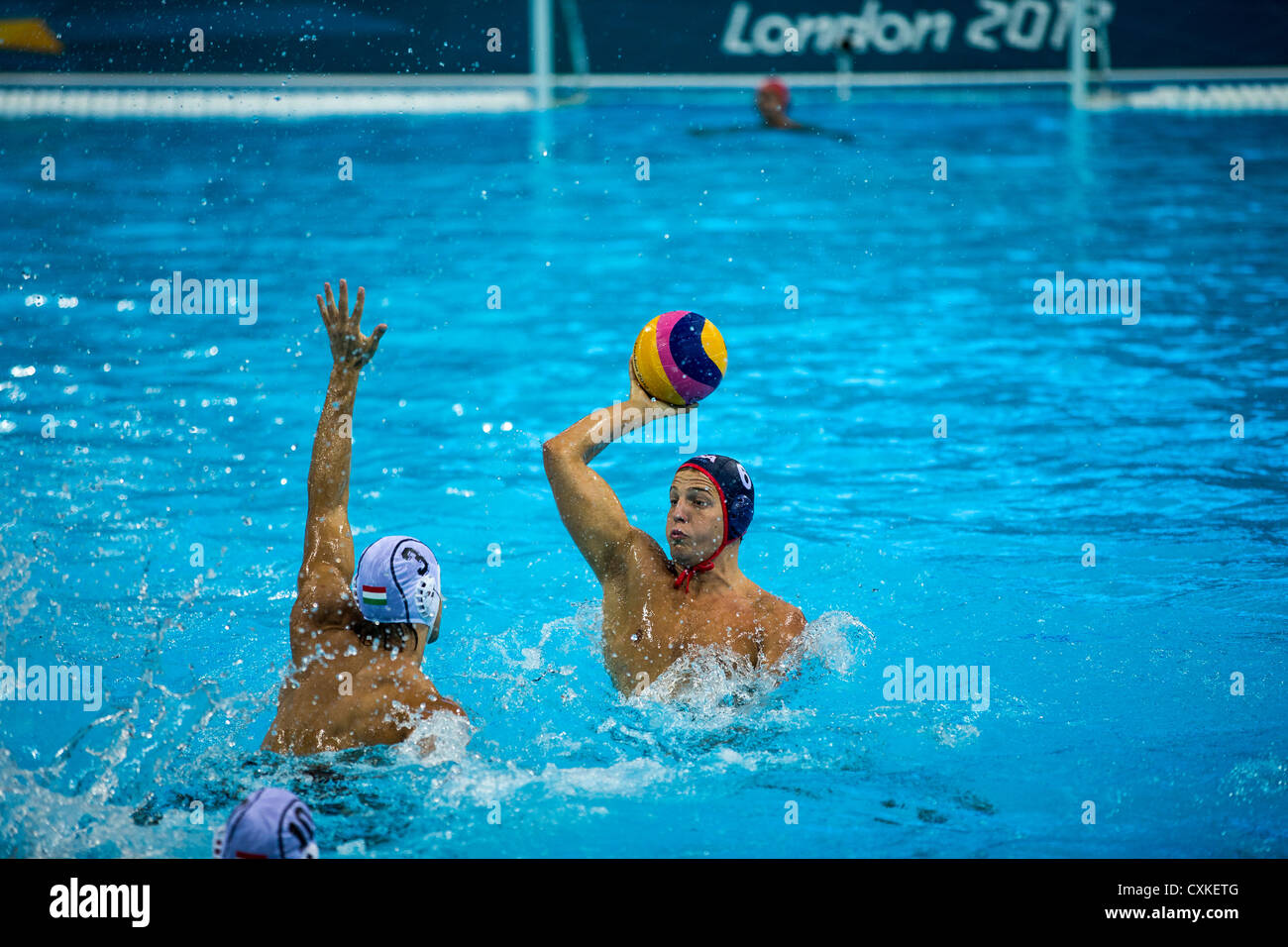 Shea Buckner (USA) during the USA vs.Hungary Men's Water Polo game at the Olympic Summer Games, London 2012 - Stock Image