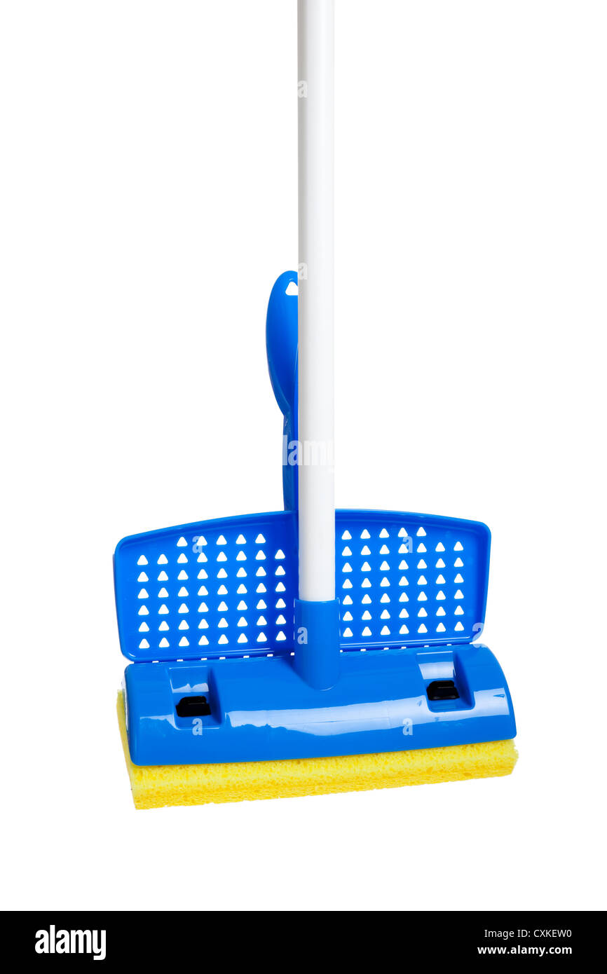 Sponge mop on a white background - Stock Image
