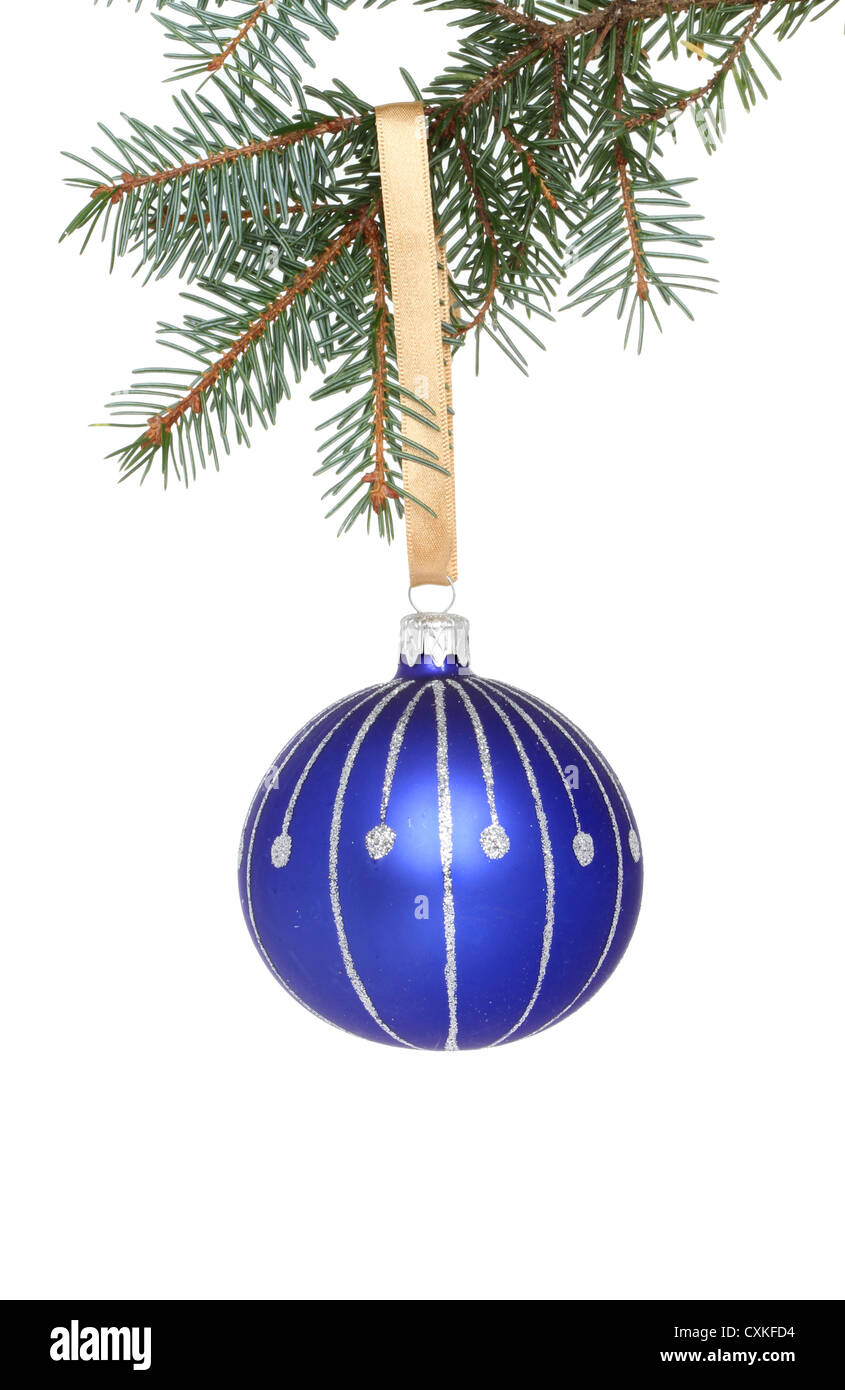 Blue And Silver Christmas Bauble Hanging From A Branch Of Tree Against White