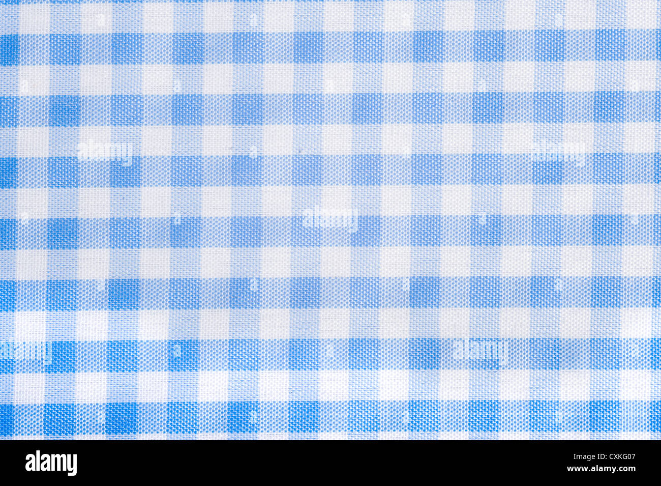 Superbe Light Blue Gingham Or Checked Tablecloth Background   Stock Image
