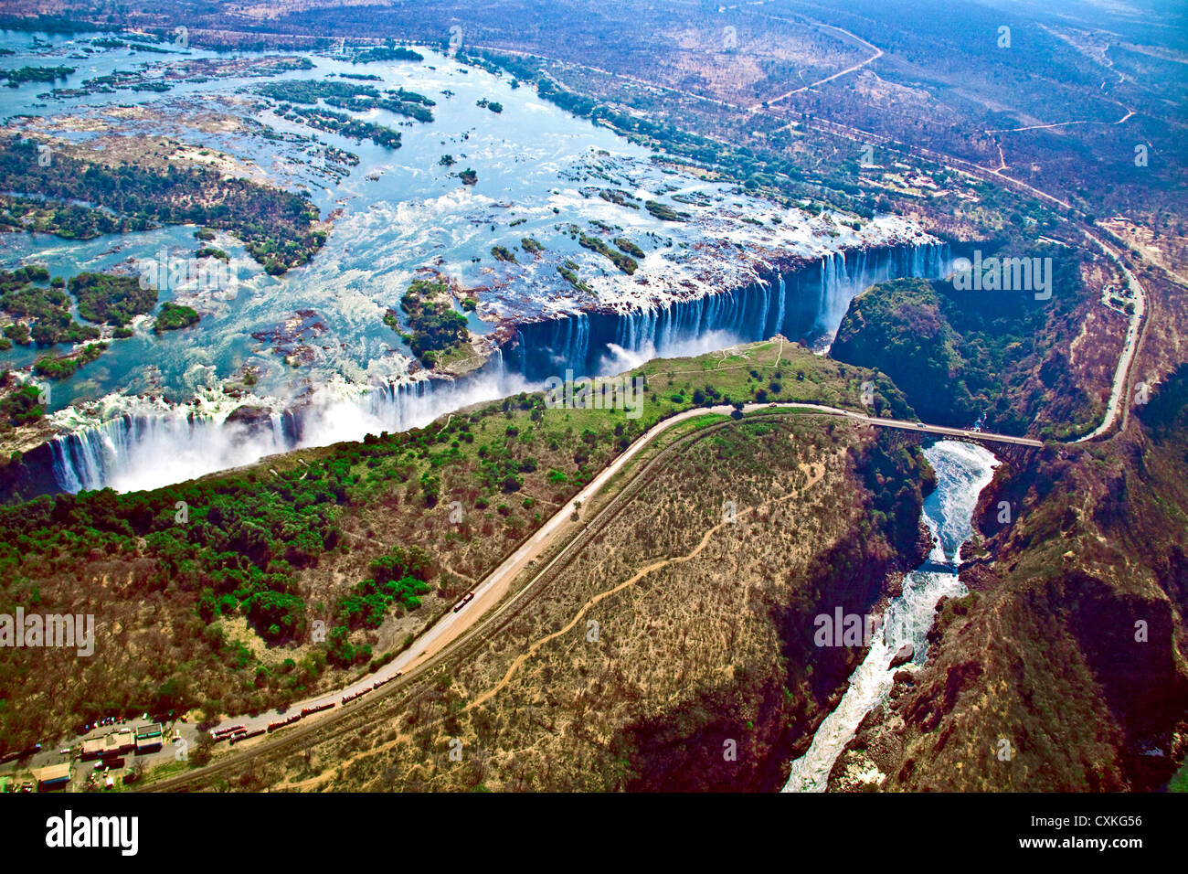 Aerial view of Victoria Falls, Waterfall, and the Zambesi River, Zimbabwe, Africa. On the Zambia-Zimbabwe Border - Stock Image