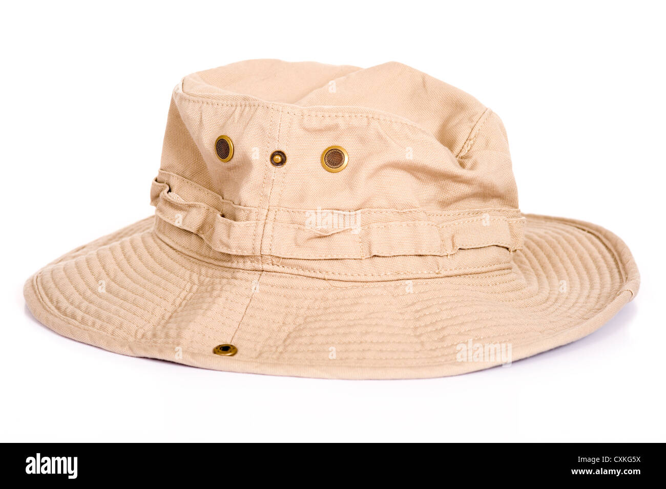 c96248f791fc3 A khaki brown Boonie hat or sun hat on a white background with copy space -