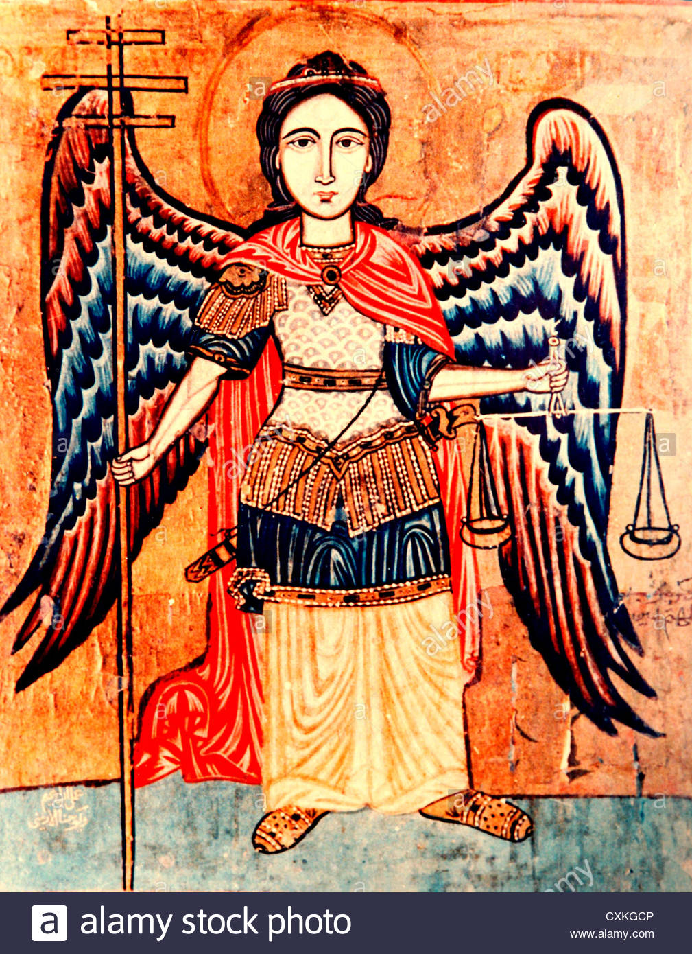 Coptic Christian Artwork depicting the Archangel Michael holding the scales of justice. - Stock Image