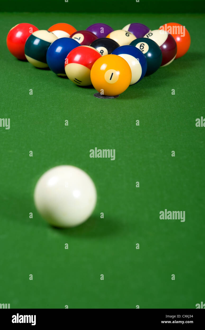 A set of billiards or pool balls on a green felt table with copy space - Stock Image