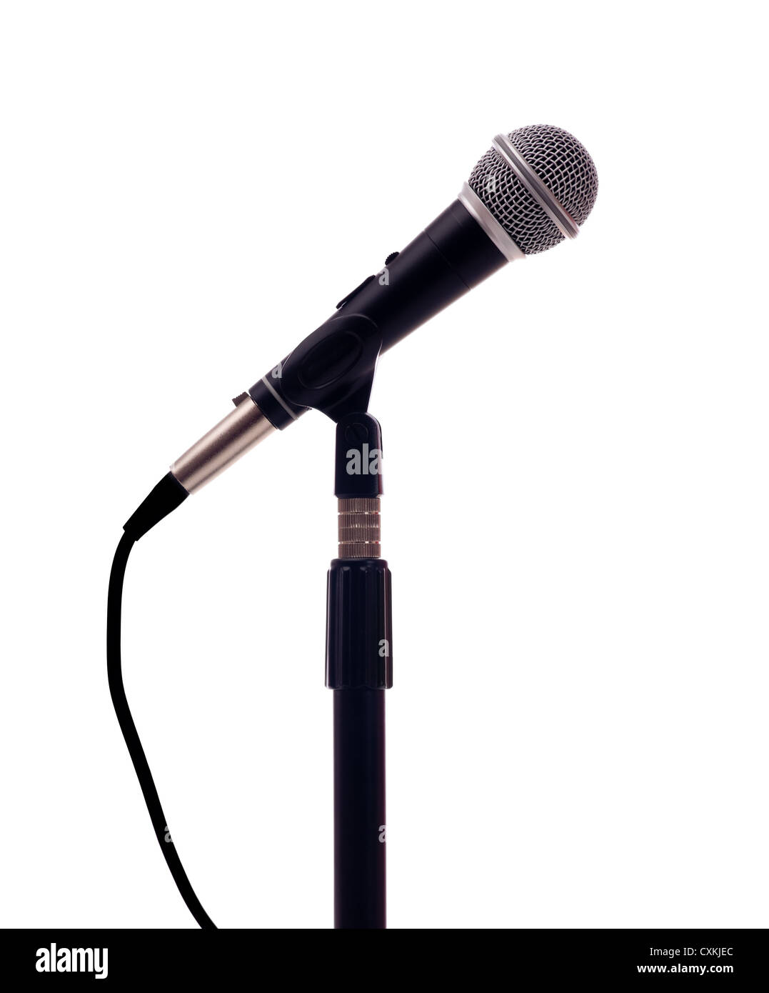 A microphone on a white background with copy space - Stock Image