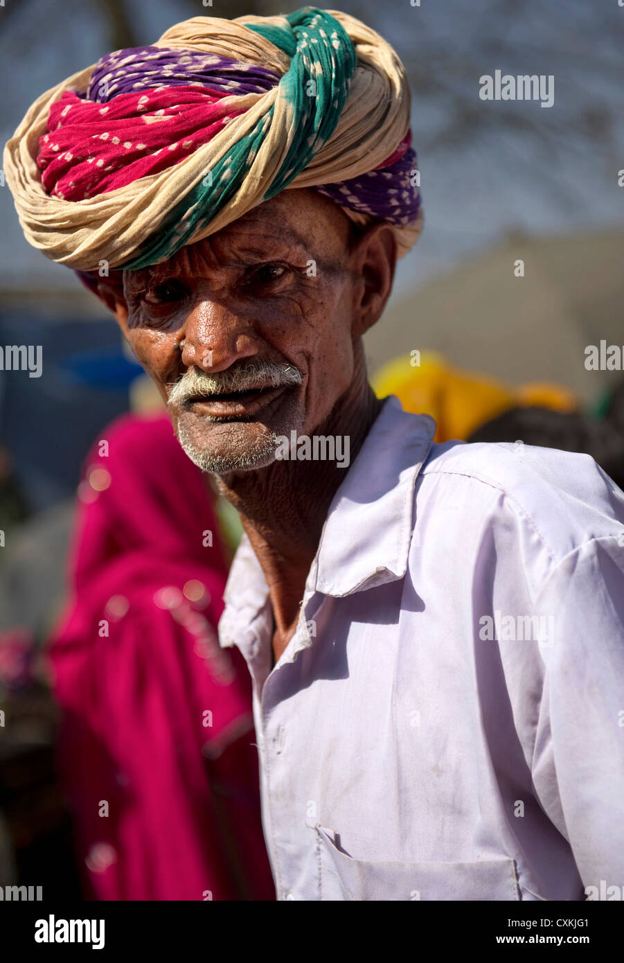 Turbans worn in Rajasthan signify the ancestral profession of the family by the way in which it is tied. Rajasthan, Stock Photo
