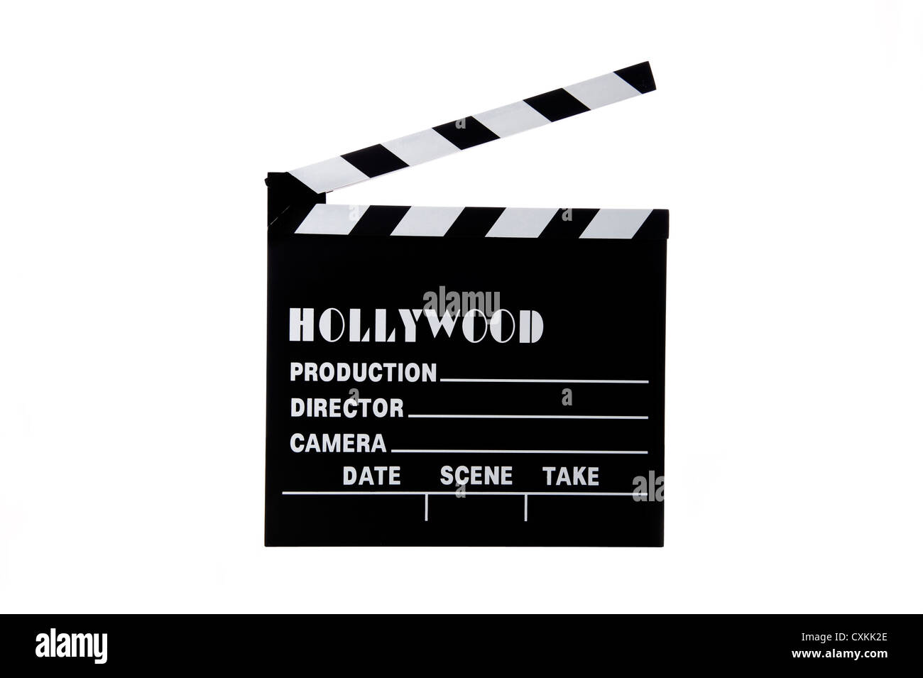 A Hollywood movie clapboard on a white background - Stock Image
