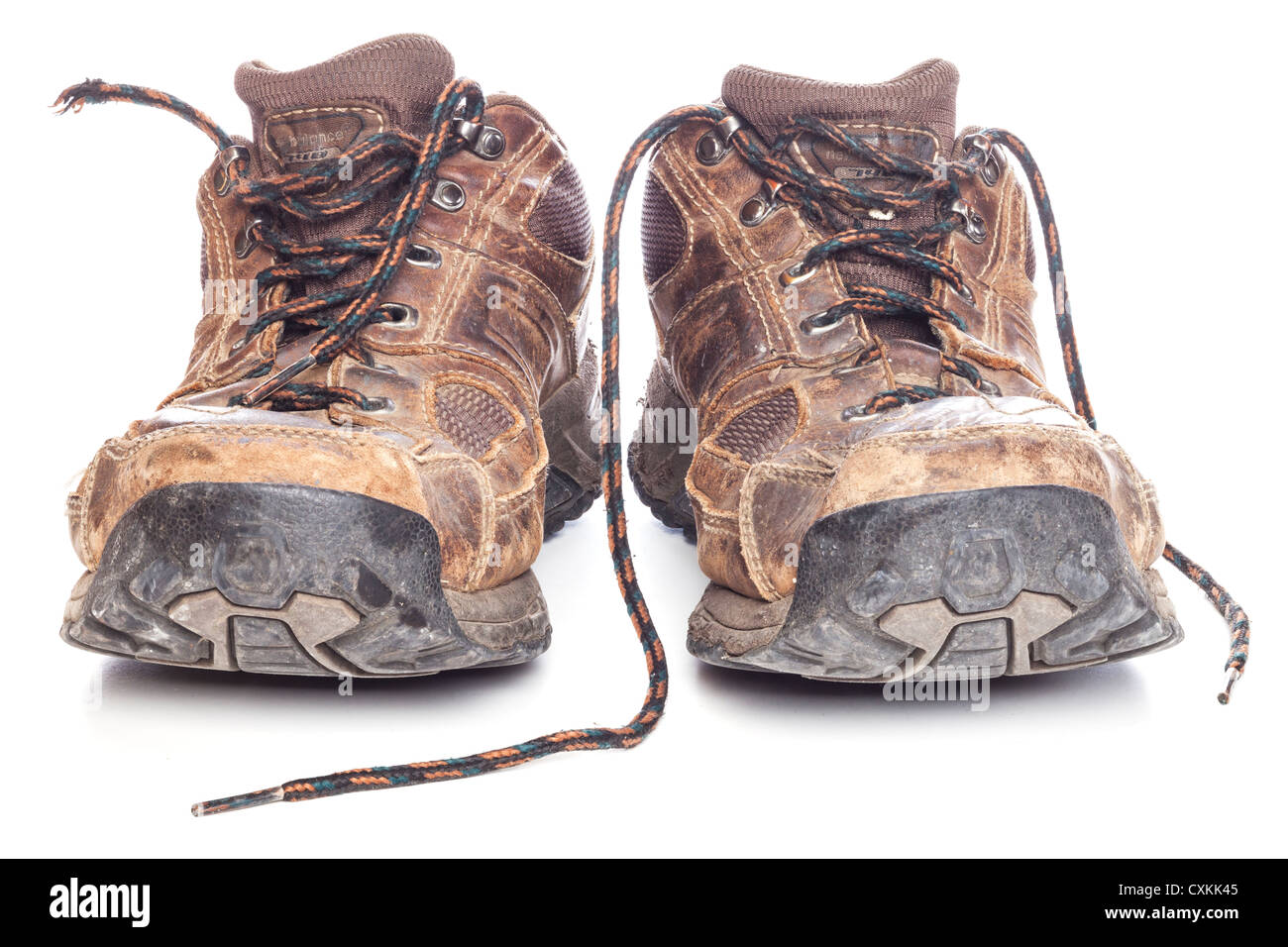 A pair of old shoes, men's size 11, on a white background. Focus stack, in focus front to back. - Stock Image