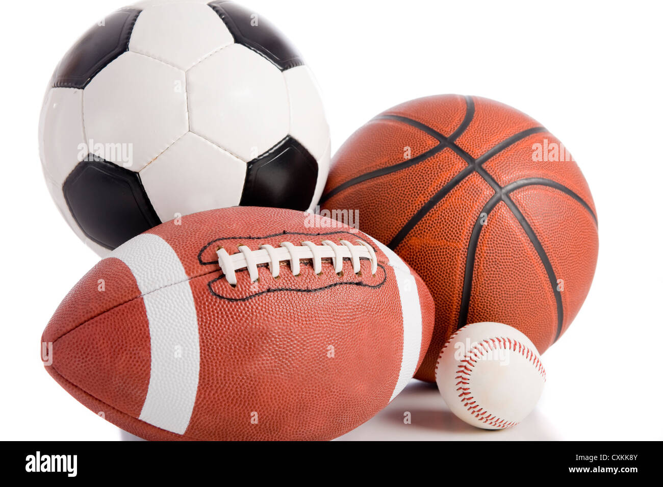 A Group Of Sports Balls On White Background Including Baseball An American Football Basketball And Soccer Ball