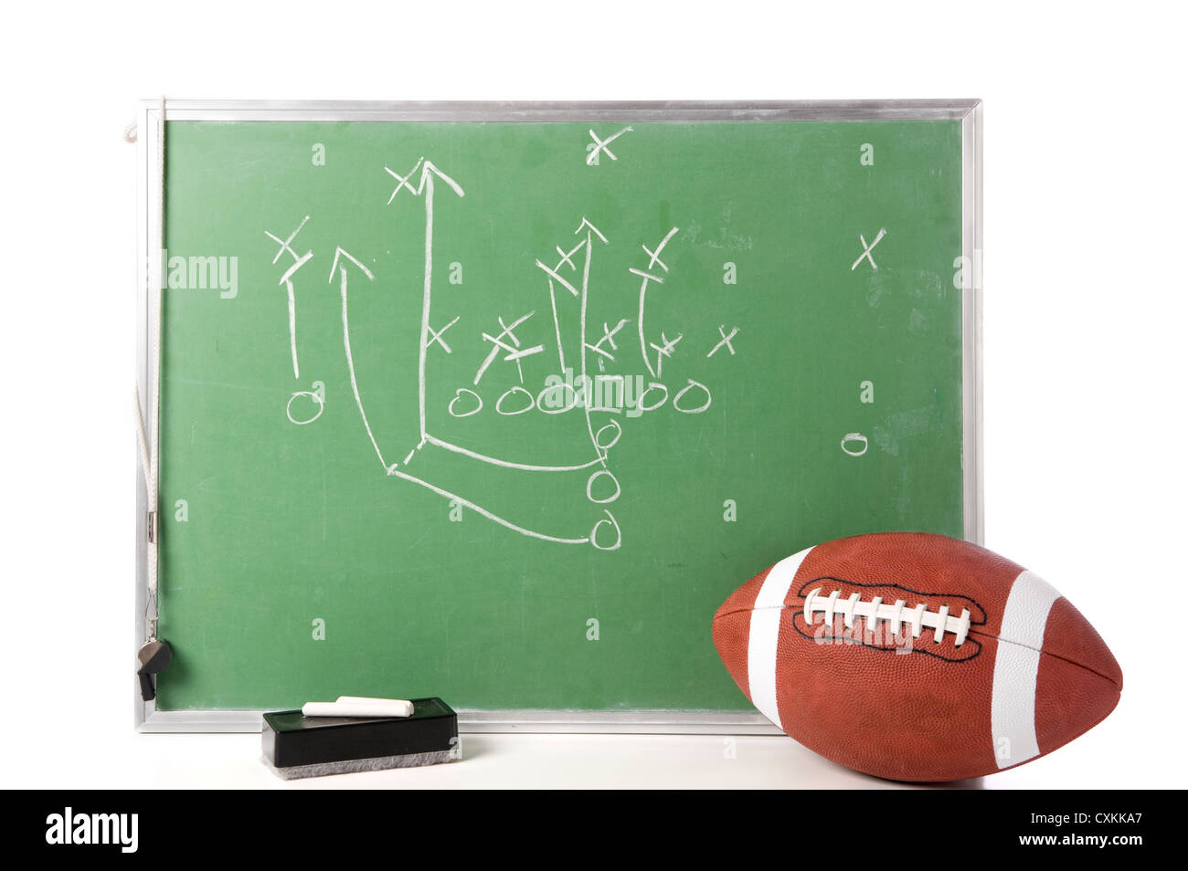 a diagram of a football play on a chalkboard with a football, chalk, eraser  ane a whistle