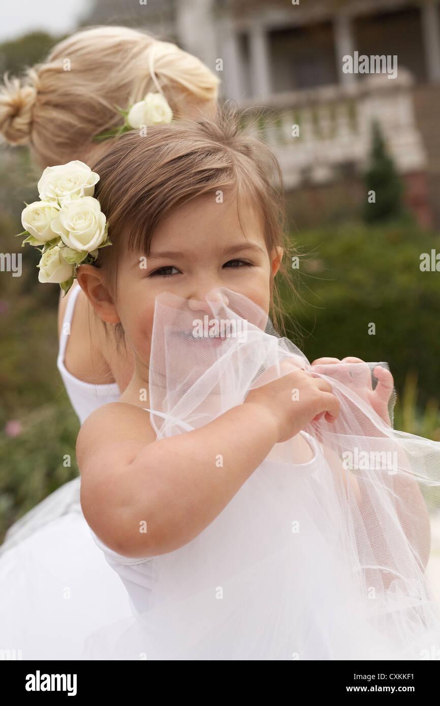 little girl laughing in ballet costume - Stock Image