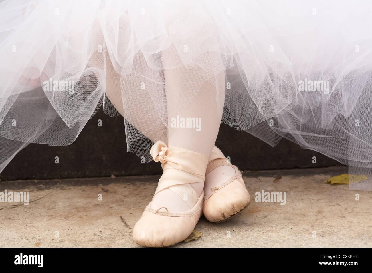Little girl ballet slippers Stock Photo
