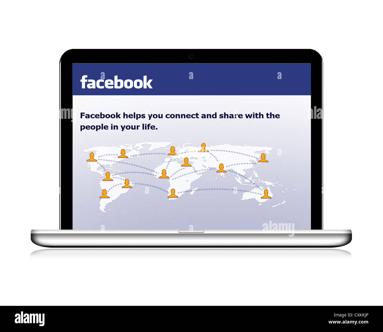 Facebook website on a laptop - Stock Image