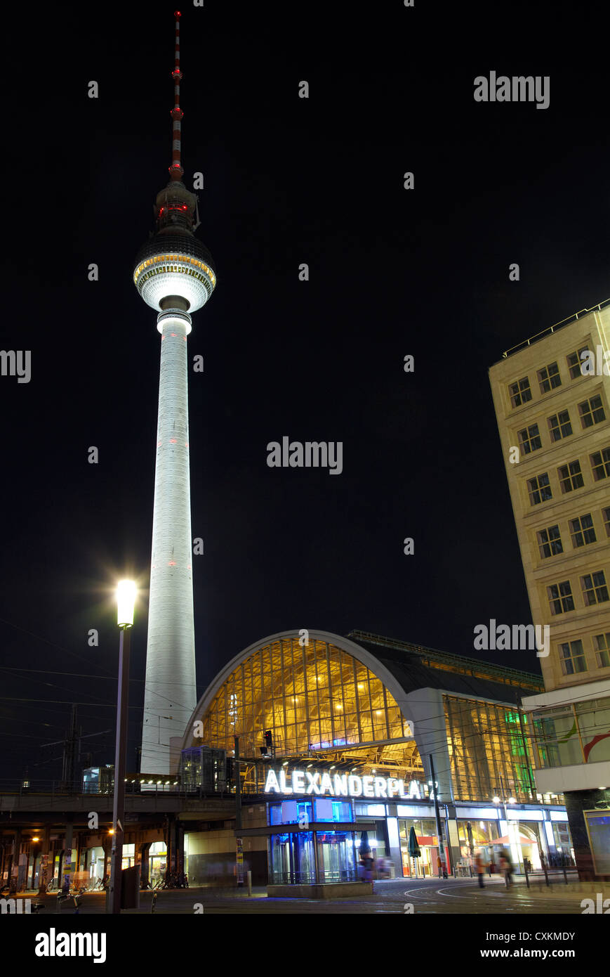 Alexanderplatz, Tv Tower at night, Berlin Stock Photo