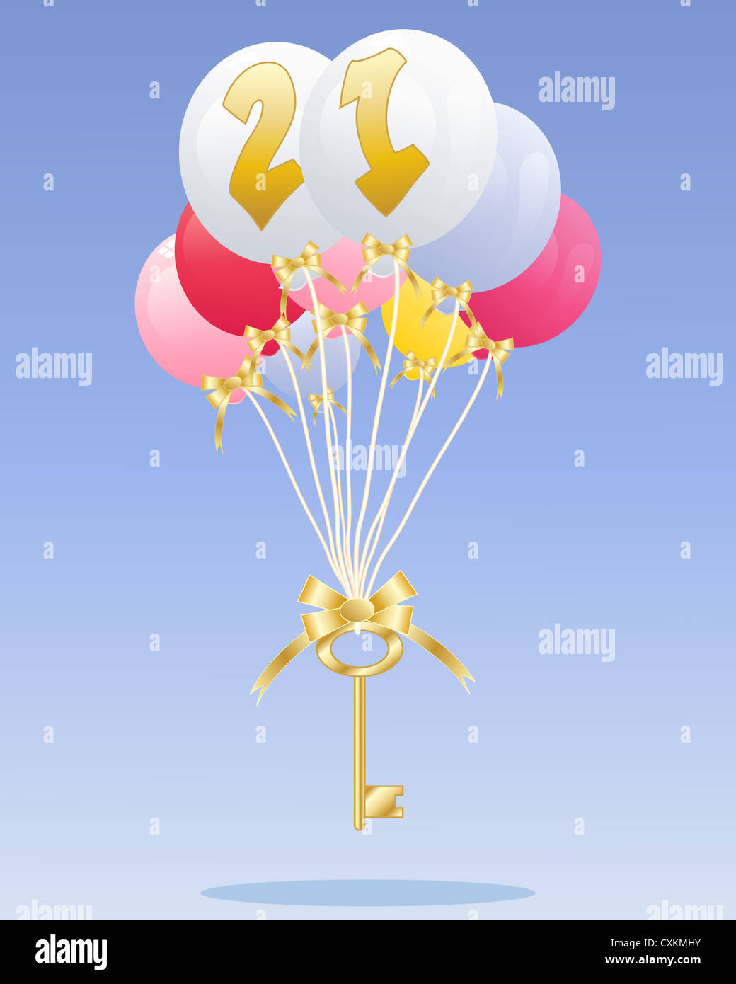 an illustration of a group of colorful balloons with the number 21 in gold floating with a golden key on a blue - Stock Image