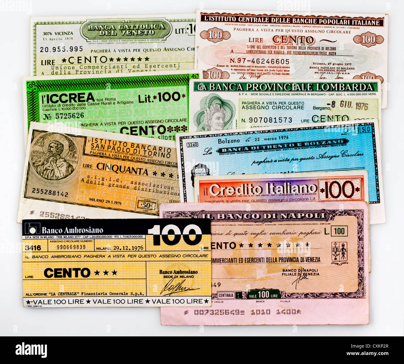 Miniassegni, Italian bank transfer, money order with a low value, Il Banco Ambrosiano, Mailand - Stock Image