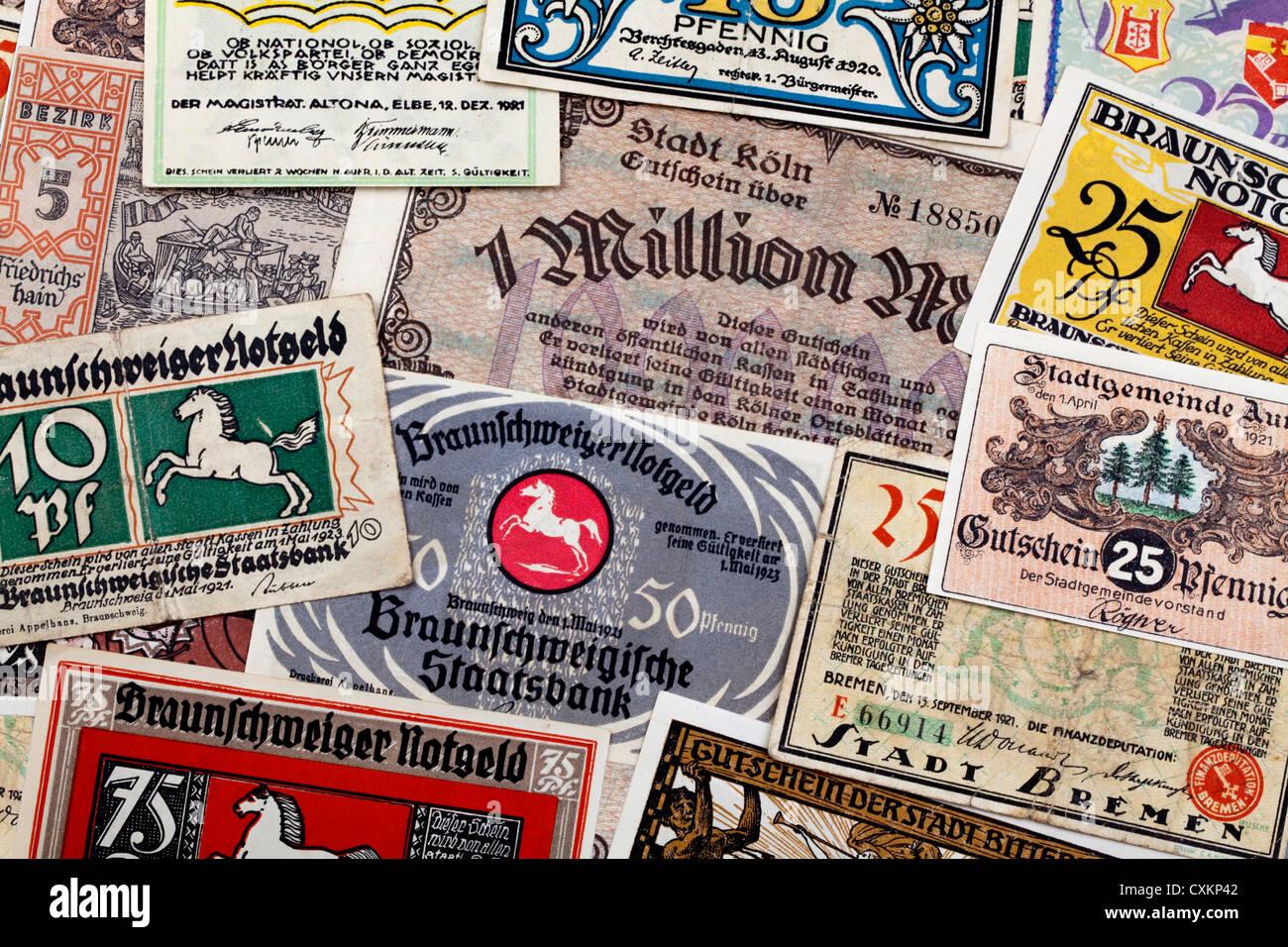 German bank notes, emergency money, 1921 - Stock Image