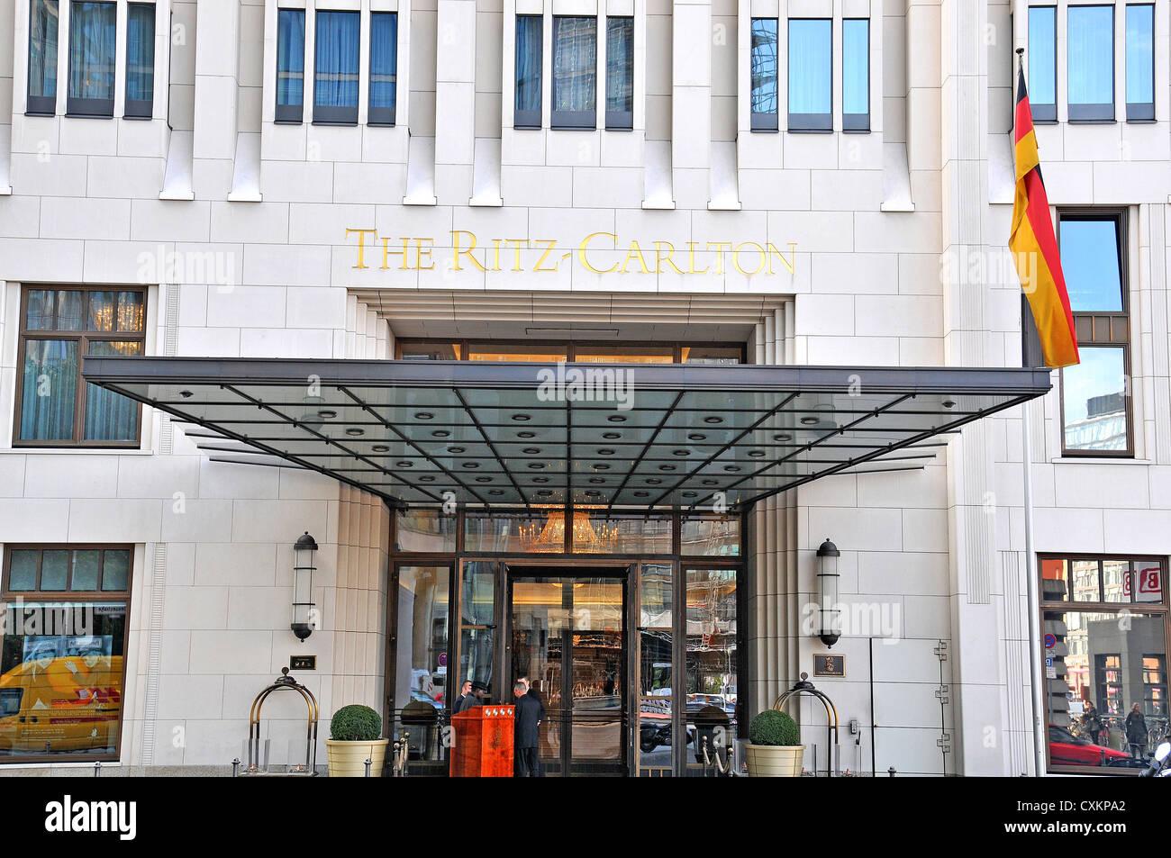 The Ritz-Calton palace hotel front door Potsdamer Platz Berlin Germany - Stock Image