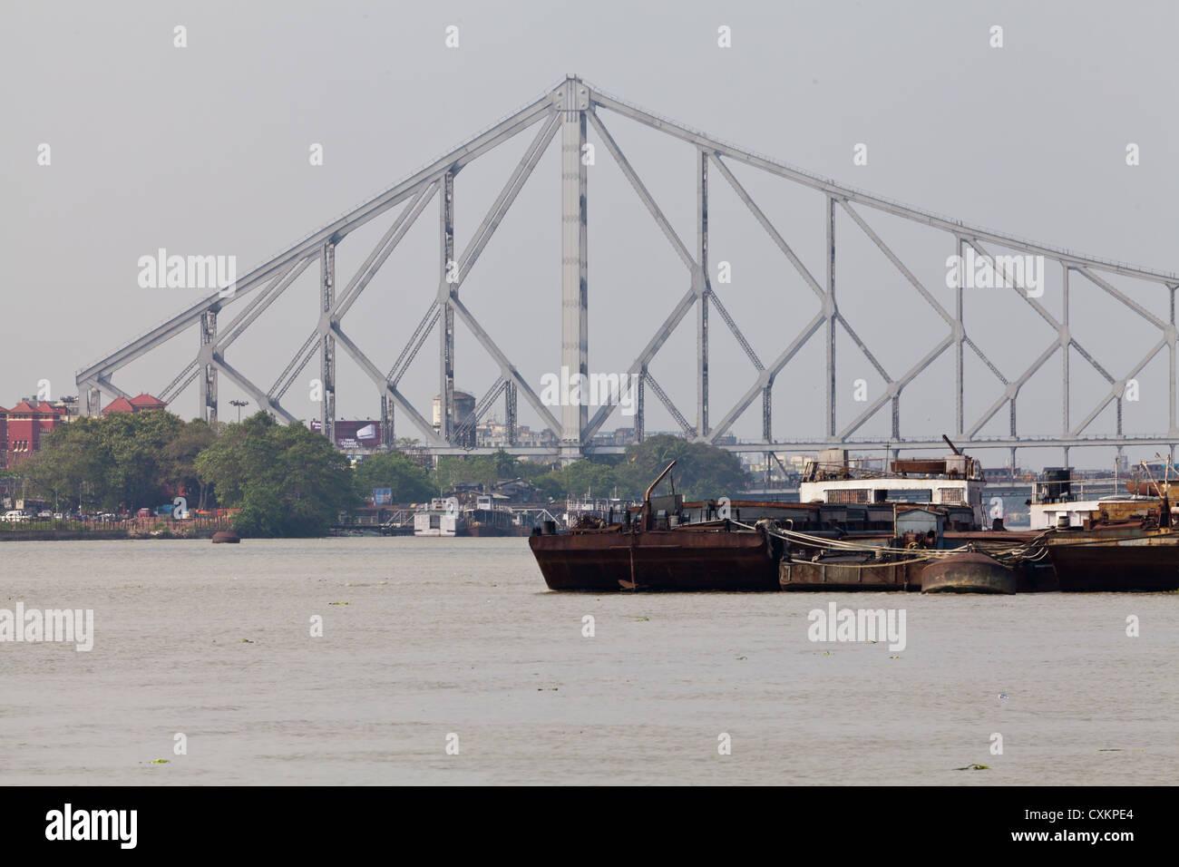 The Howarh Bridge in Kolkata - Stock Image