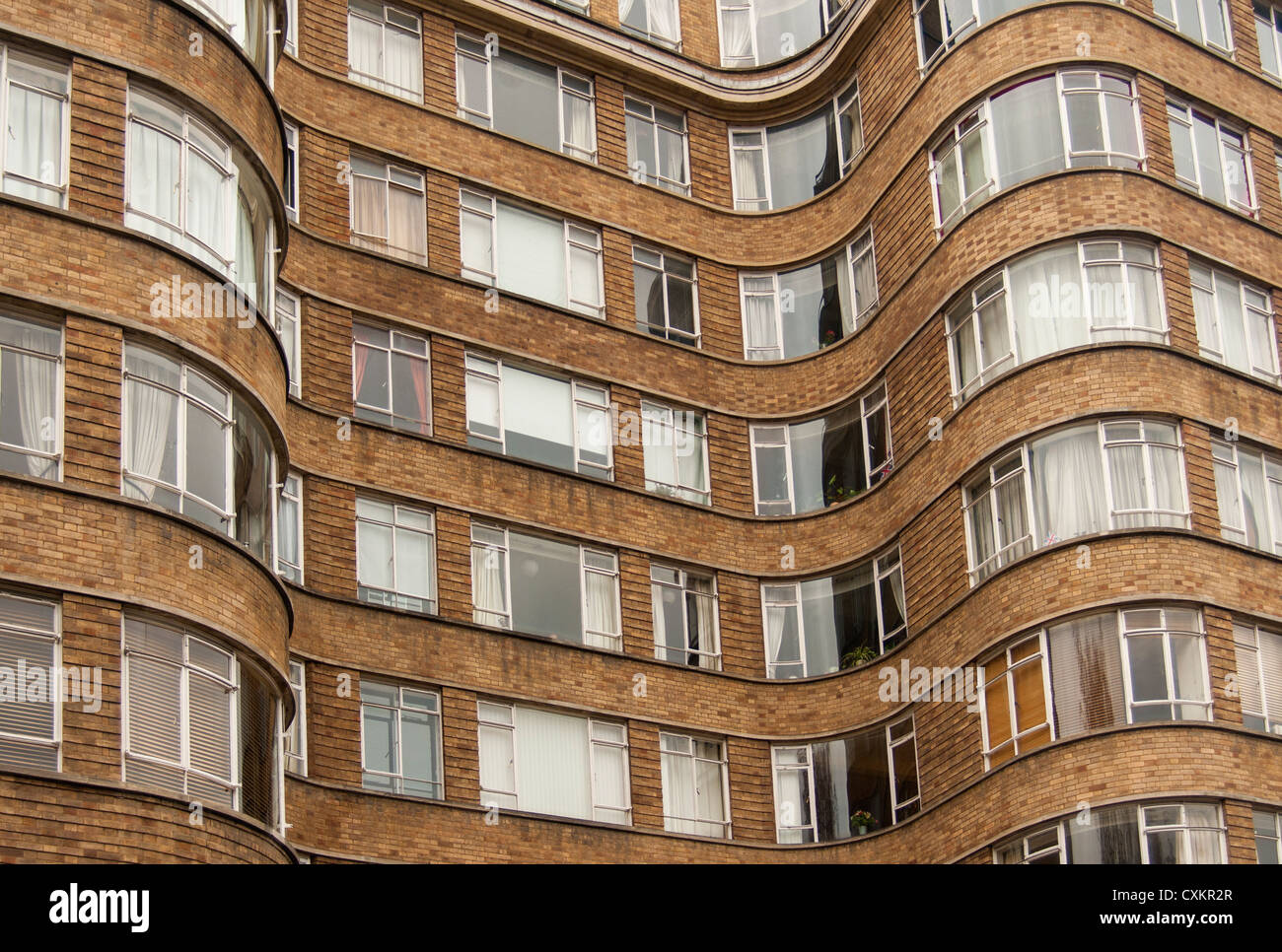Facade of Florin Court (Whitehaven Mansions - Poirot) - Art deco Building, Charterhouse Square, Smithfield, London, - Stock Image