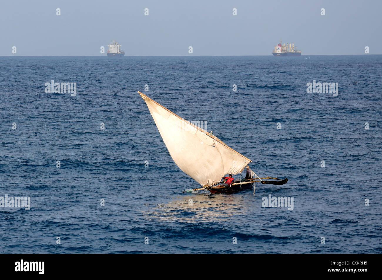 Arab sailing boat (dhow) off the Tanzanian coast - Stock Image