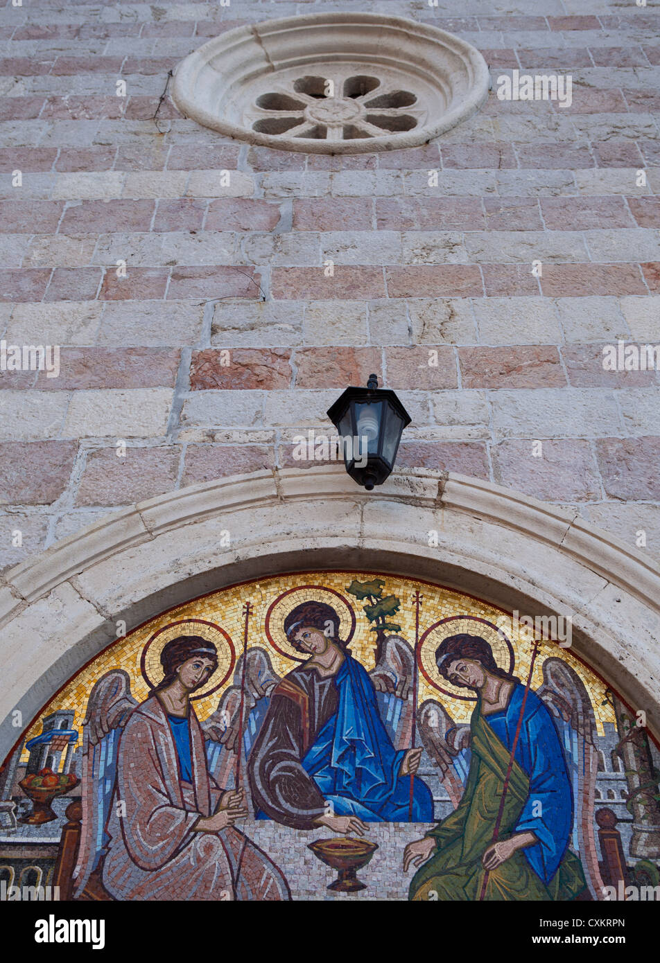 religious mural on church, Budva, Montenegro - Stock Image