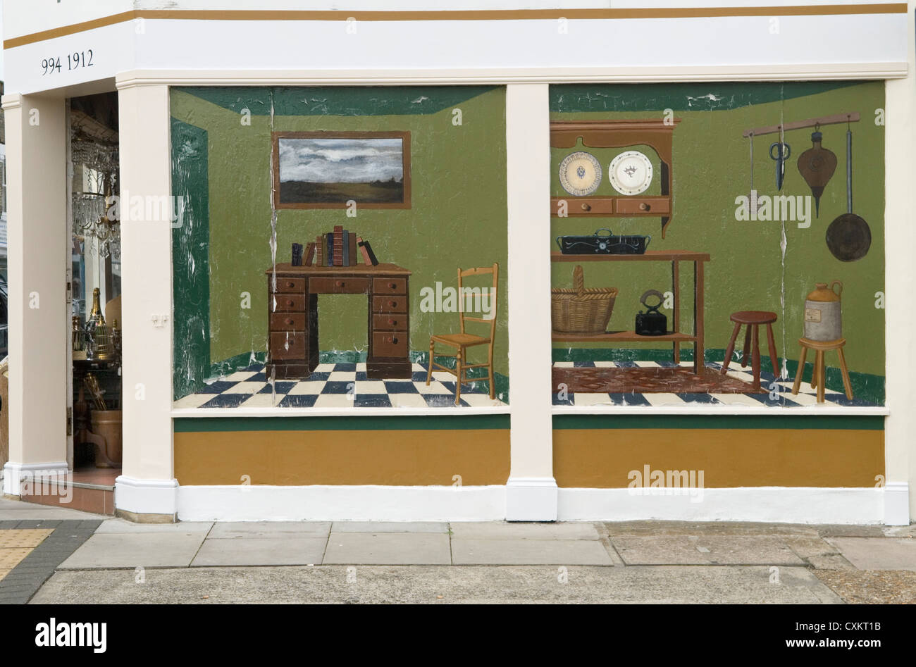 Antique shop Devonshire Street Hammersmith London UK HOMER SYKES - Stock Image
