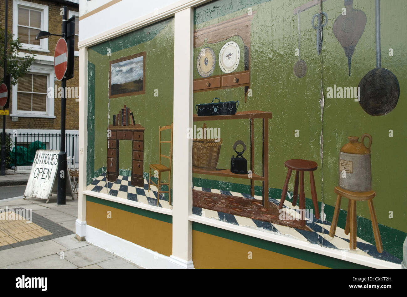 Antique shop London UK - Stock Image