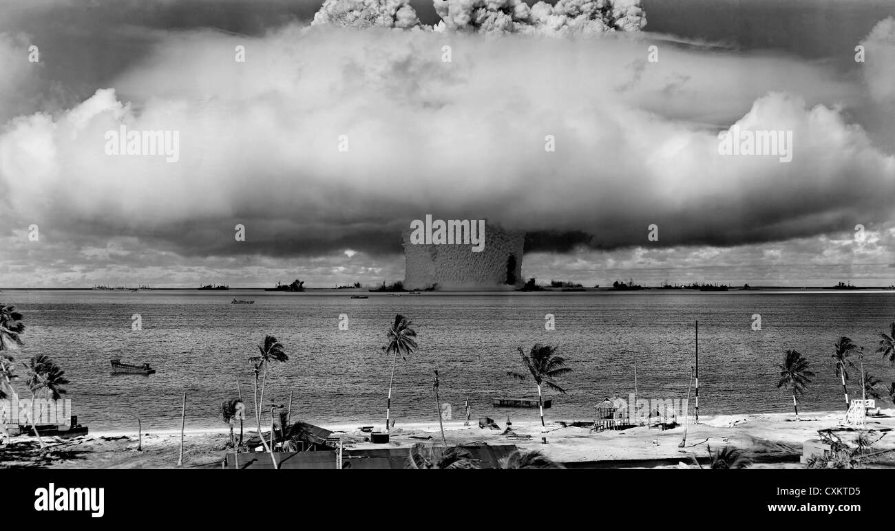 Mushroom shaped cloud and water column from the underwater Baker nuclear explosion of July 25, 1946 on Bikini Atoll. - Stock Image