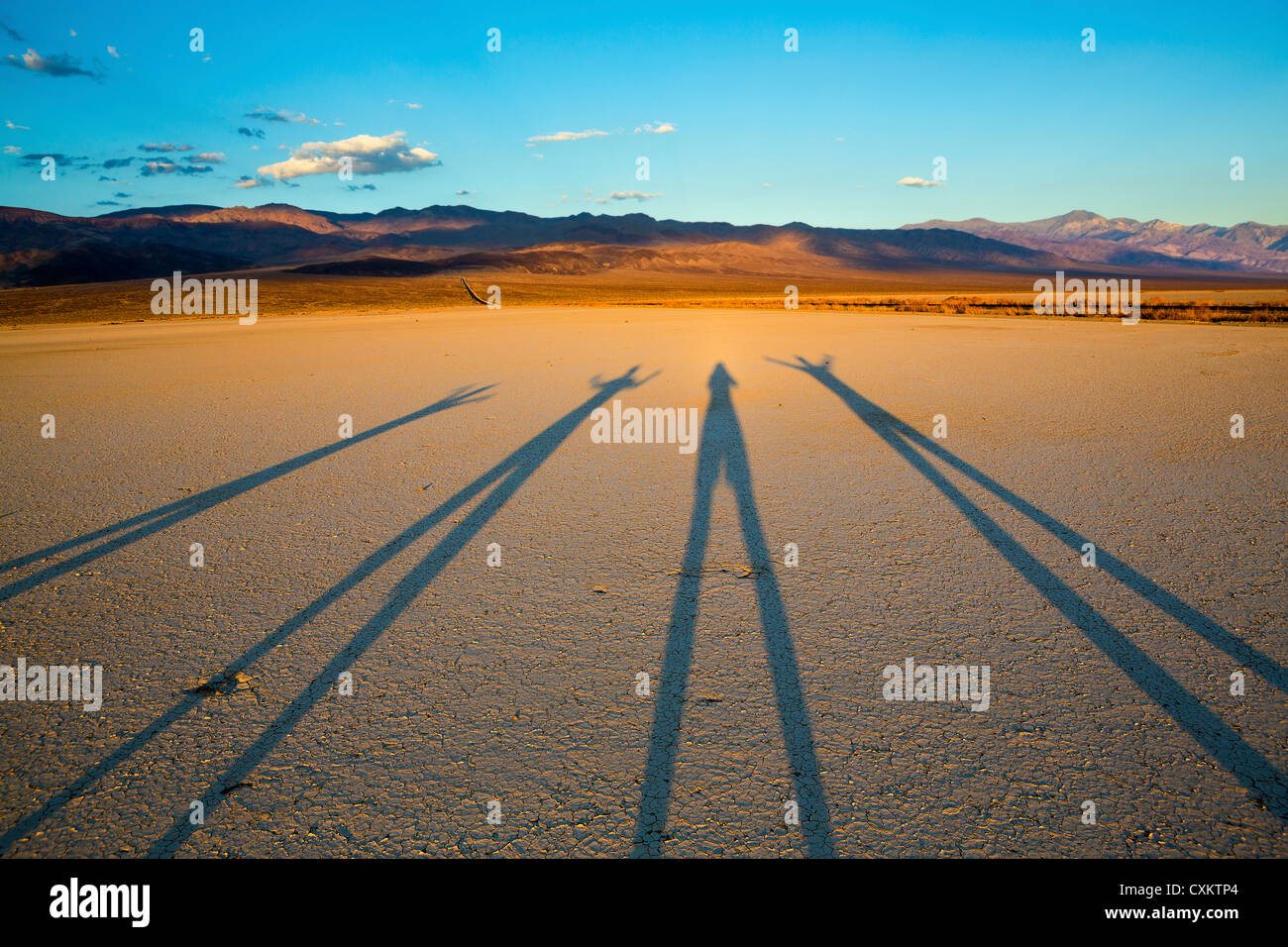 shadows on Death Valley National Park at sunset - Stock Image