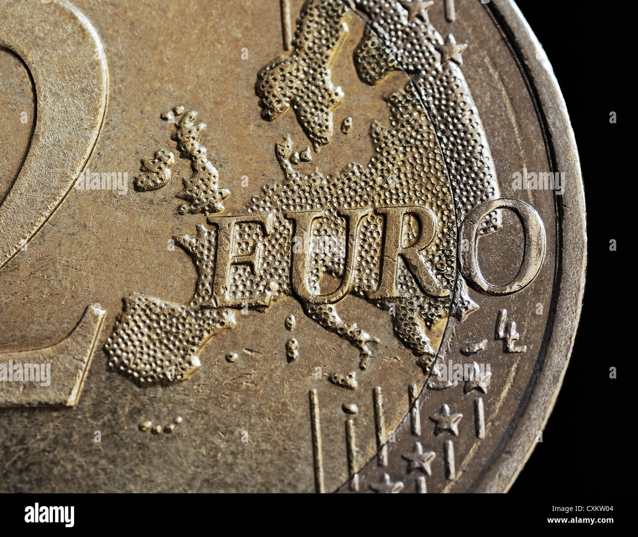 Euro Coin, Close Up. - Stock Image