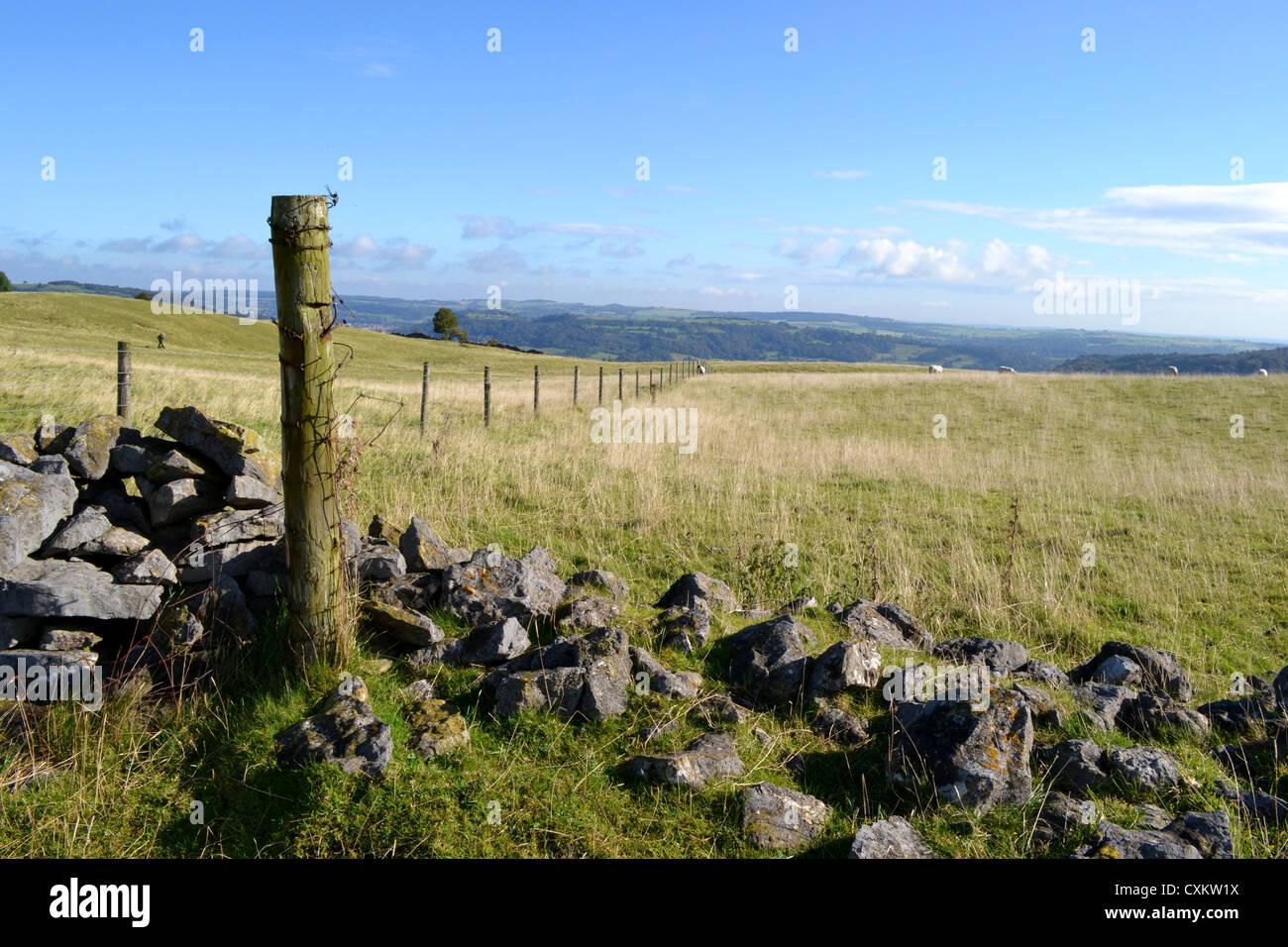 Fence post, Middleton top, Derbyshire Stock Photo