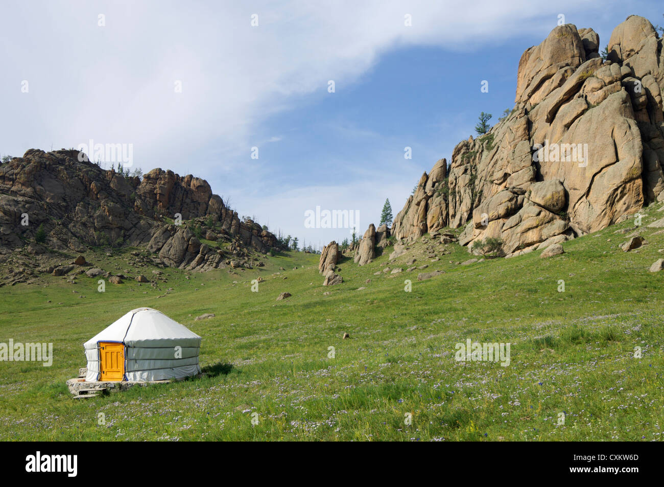Mongolian ger in Gorkhi-Terelji National Park, Mongolia - Stock Image