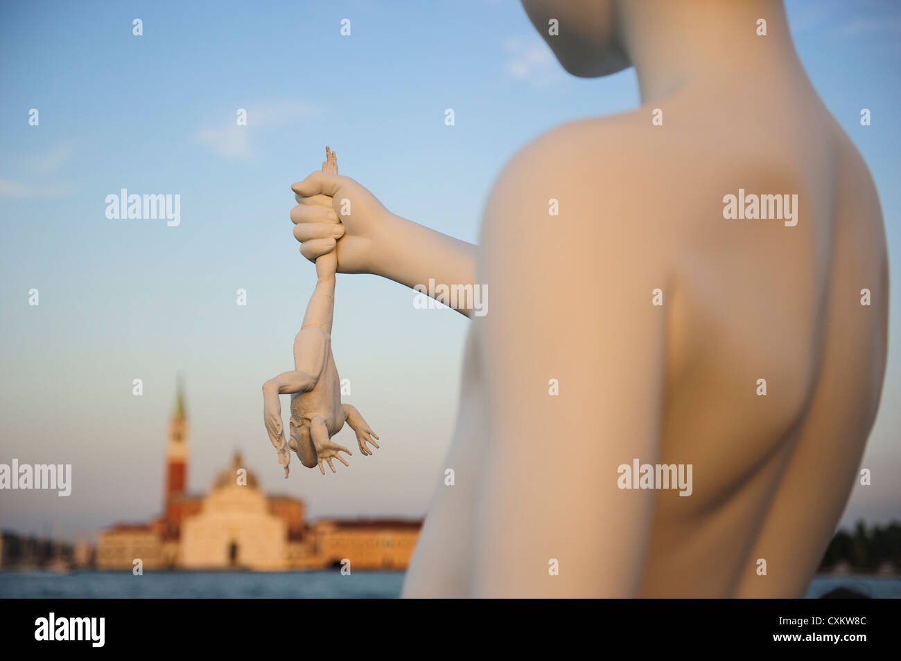 Charles Ray's statue 'boy with a frog', Venice, Italy. - Stock Image