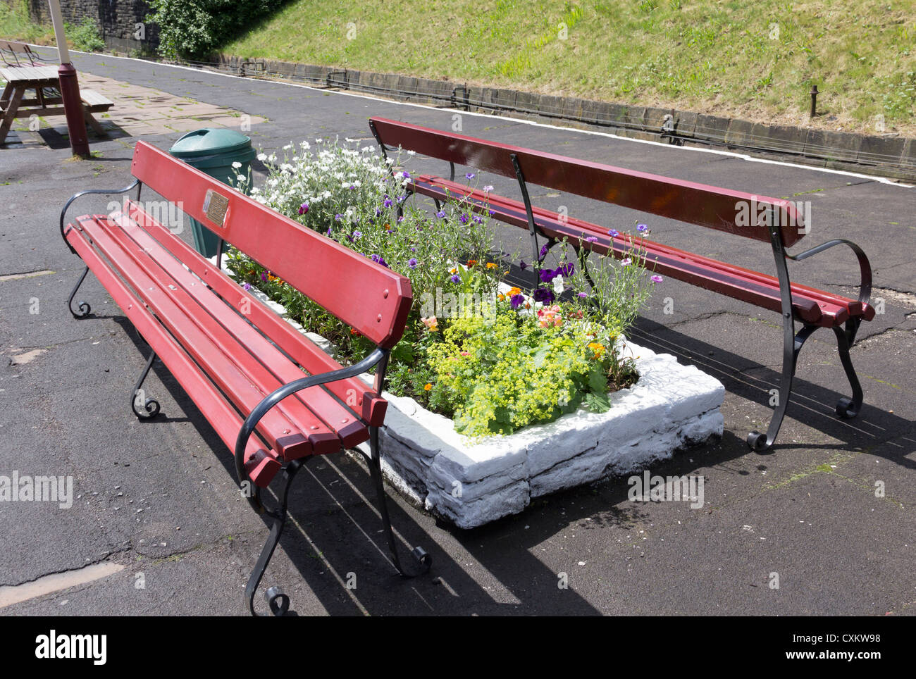 Wooden Slat Bench Seats On The Railway Platform At Bury Station On
