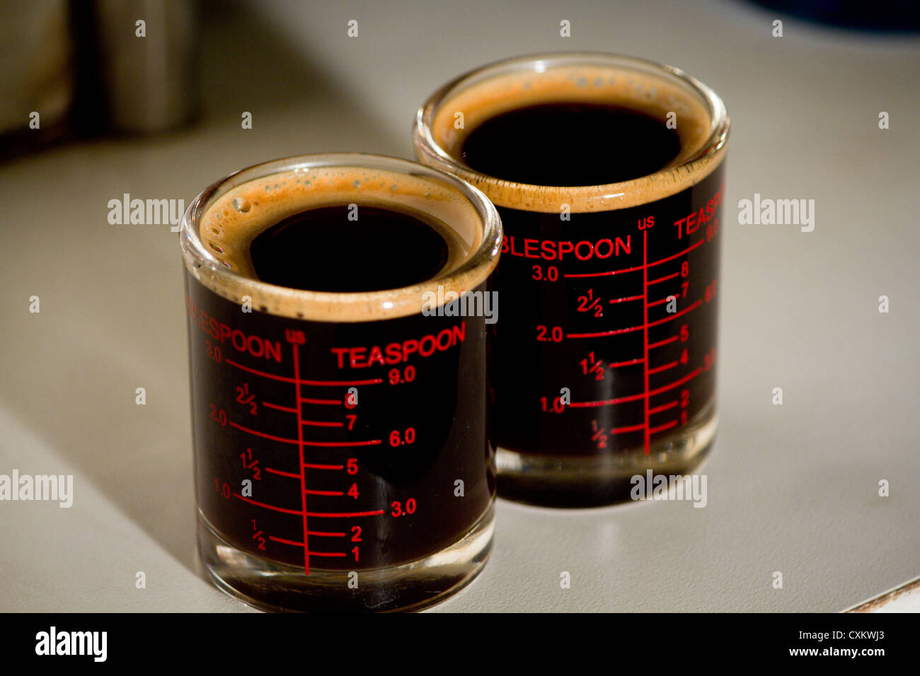 espresso black double shot so good smell - Stock Image