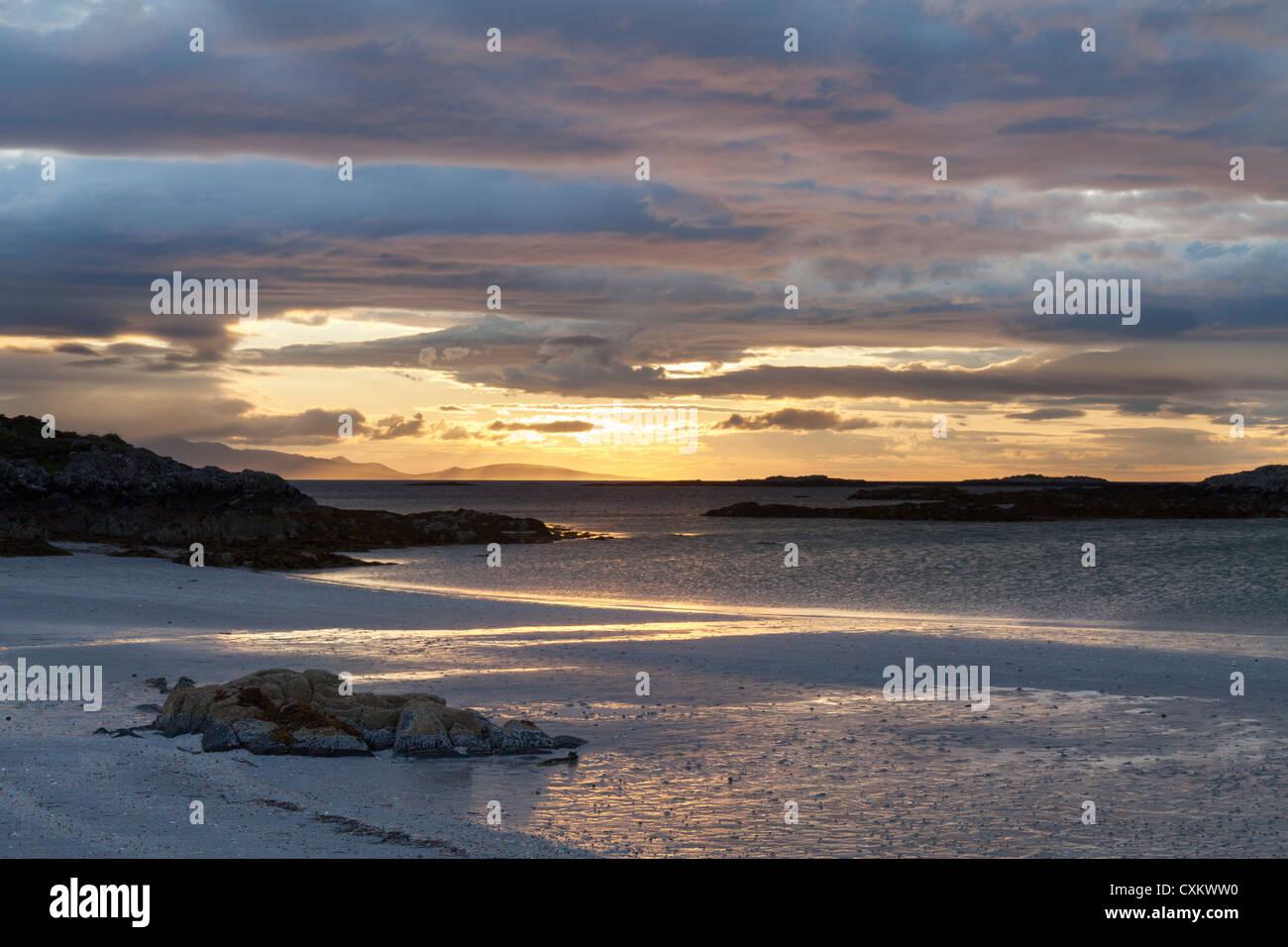 Traigh Bay, Arisaig, Beach sunset, West coast of Scotland, UK - Stock Image