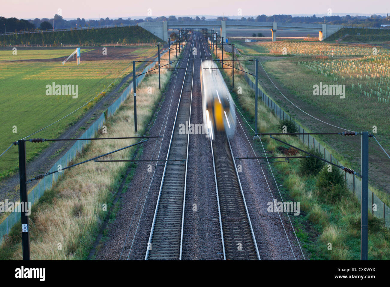 Intercity train on railway track, Cambridge England UK - Stock Image