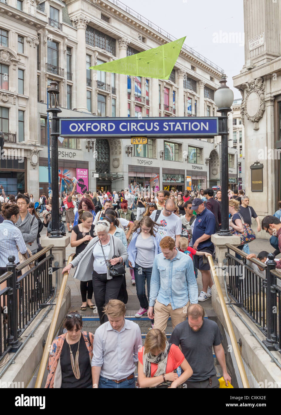 Oxford Circus underground entrance at rush hour, London, England - Stock Image