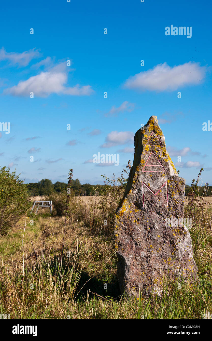 Wheatacre Traveller's stone part of millennium project - Stock Image