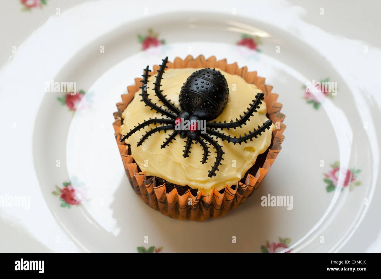 Halloween spider cupcake on a pretty china plate - Stock Image