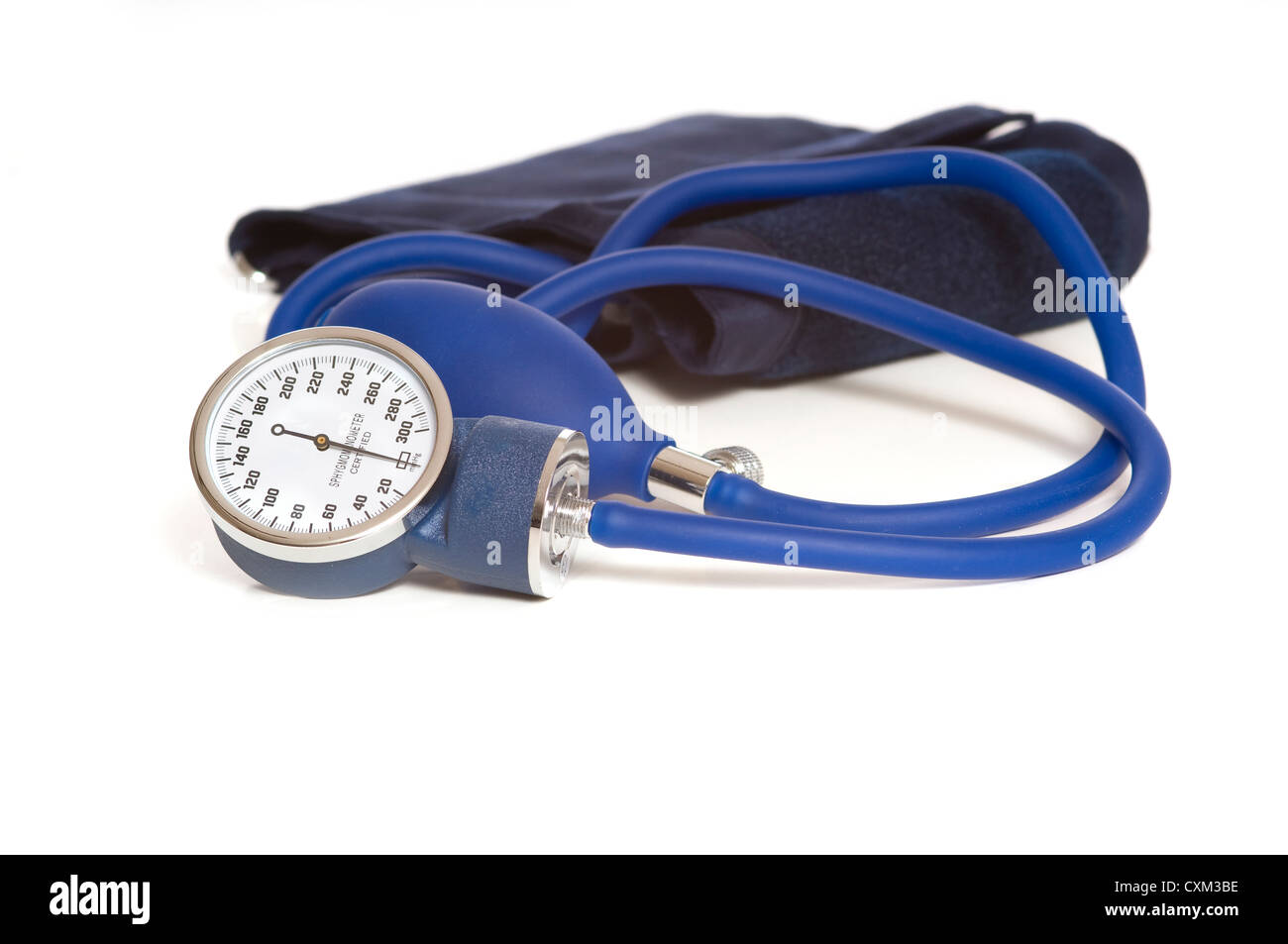 A blue blood pressure monitor or sphygmomanometer, medical device - Stock Image